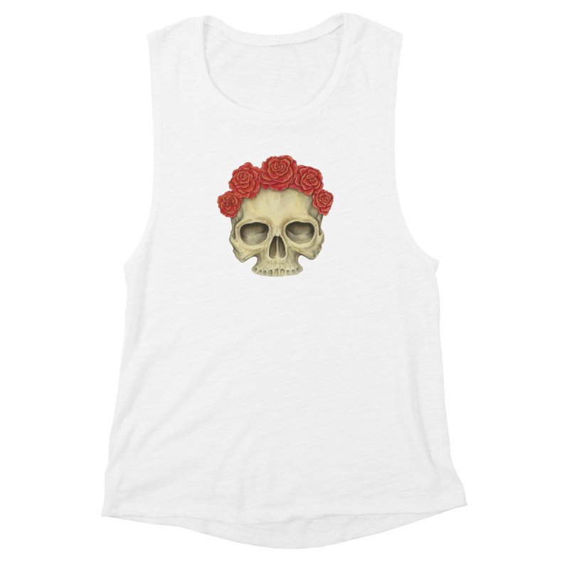 Skull And Roses Women's Muscle Tank by Eugenia Hauss's | Exiled Beauty