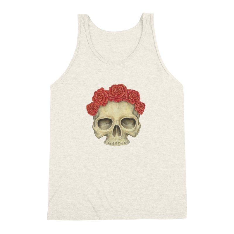 Skull And Roses Men's Triblend Tank by Eugenia Hauss's   Exiled Beauty