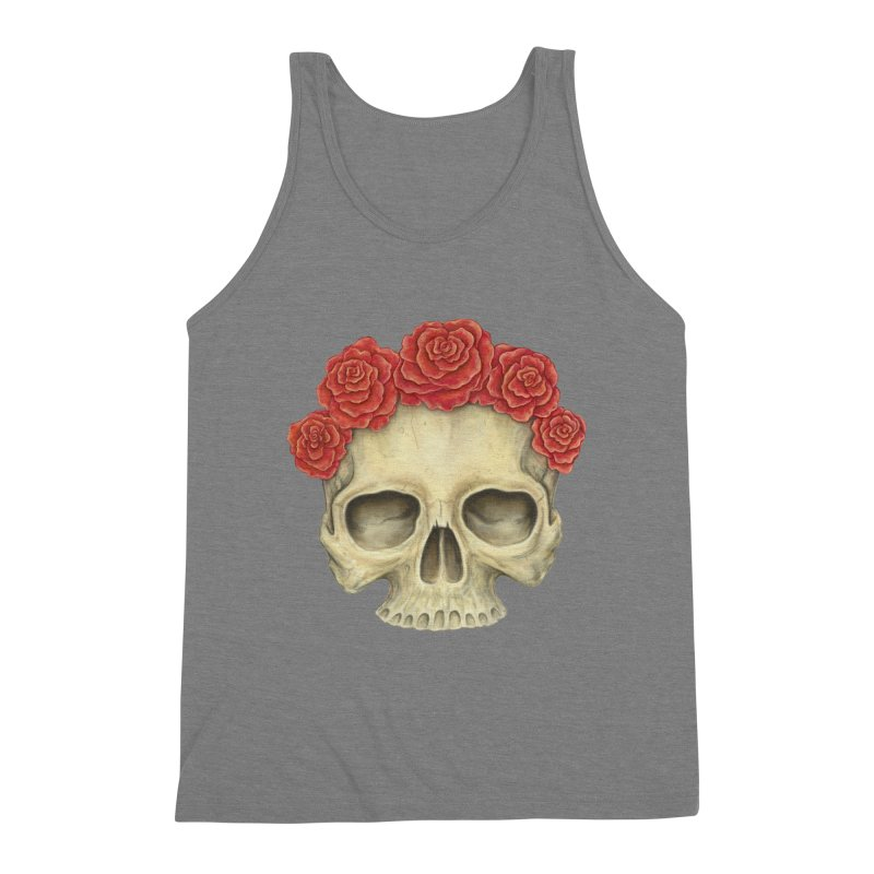 Skull And Roses Men's Triblend Tank by Eugenia Hauss's | Exiled Beauty