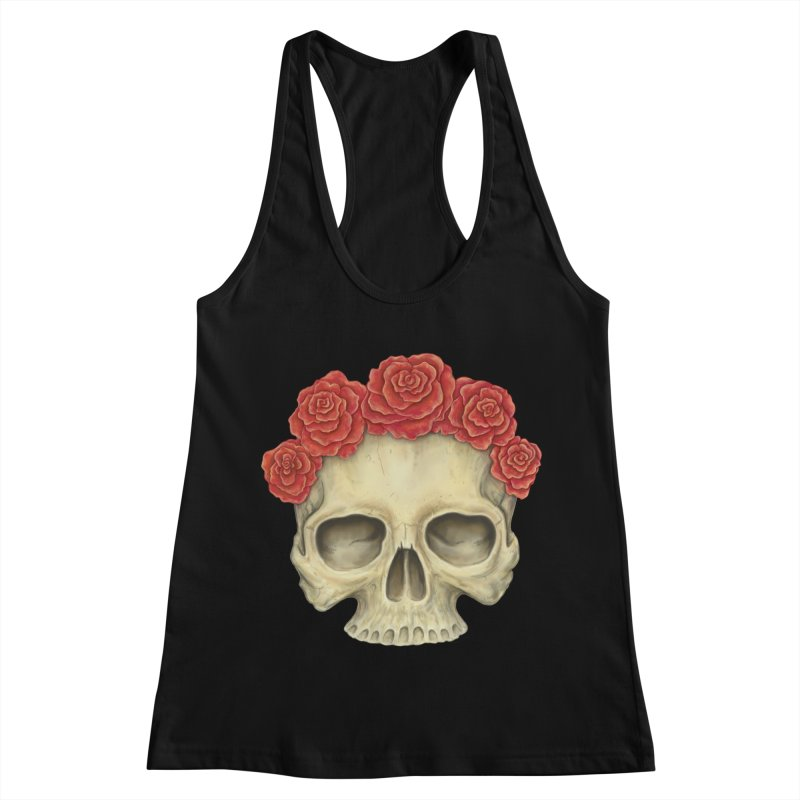 Skull And Roses Women's Racerback Tank by Eugenia Hauss's | Exiled Beauty