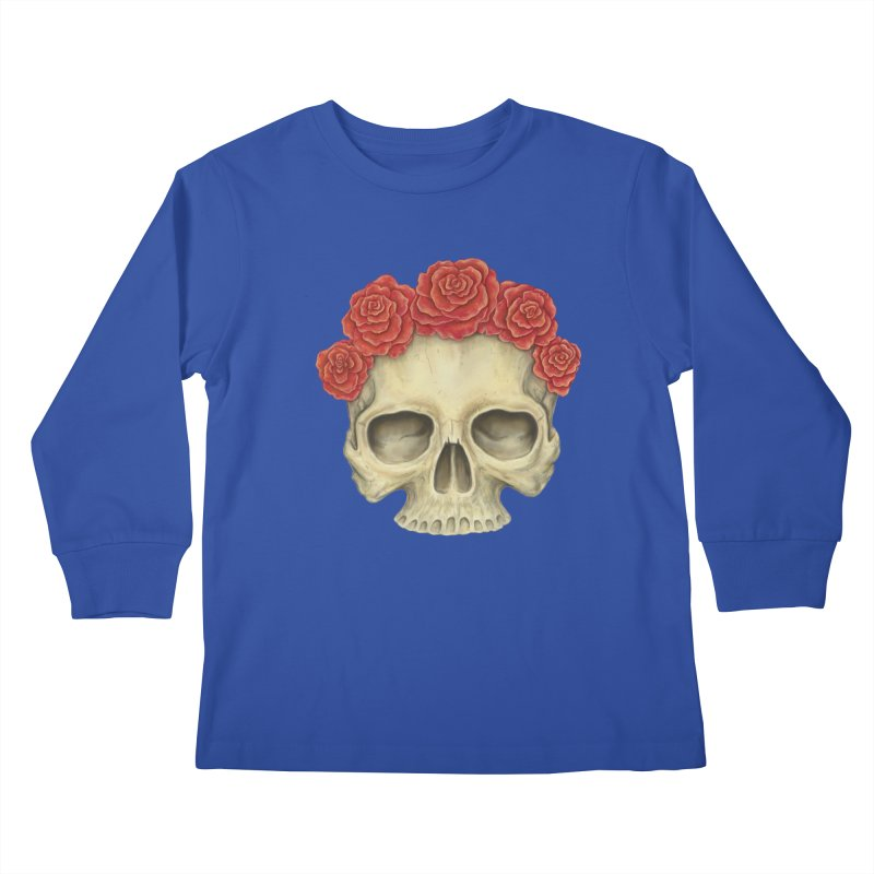 Skull And Roses Kids Longsleeve T-Shirt by Eugenia Hauss's | Exiled Beauty