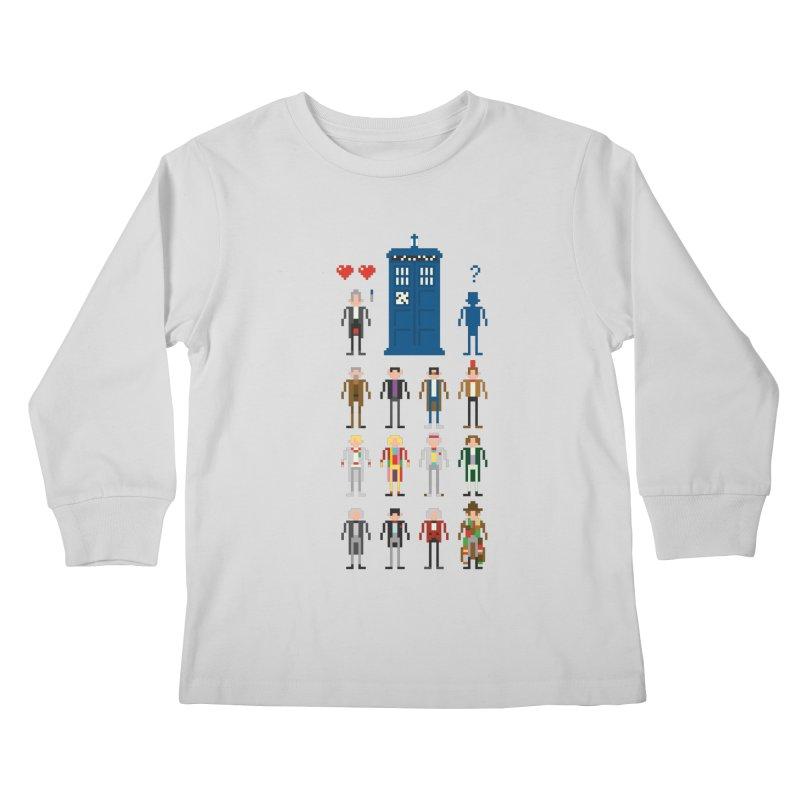 Dr Who's Next? Kids Longsleeve T-Shirt by euphospug