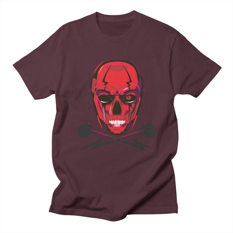 Red Skull and Cross Bones Men's T-shirt by euphospug