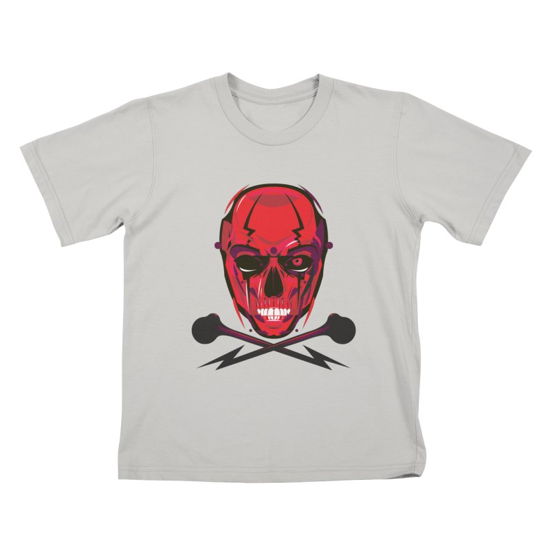 Red Skull and Cross Bones Kids T-shirt by euphospug