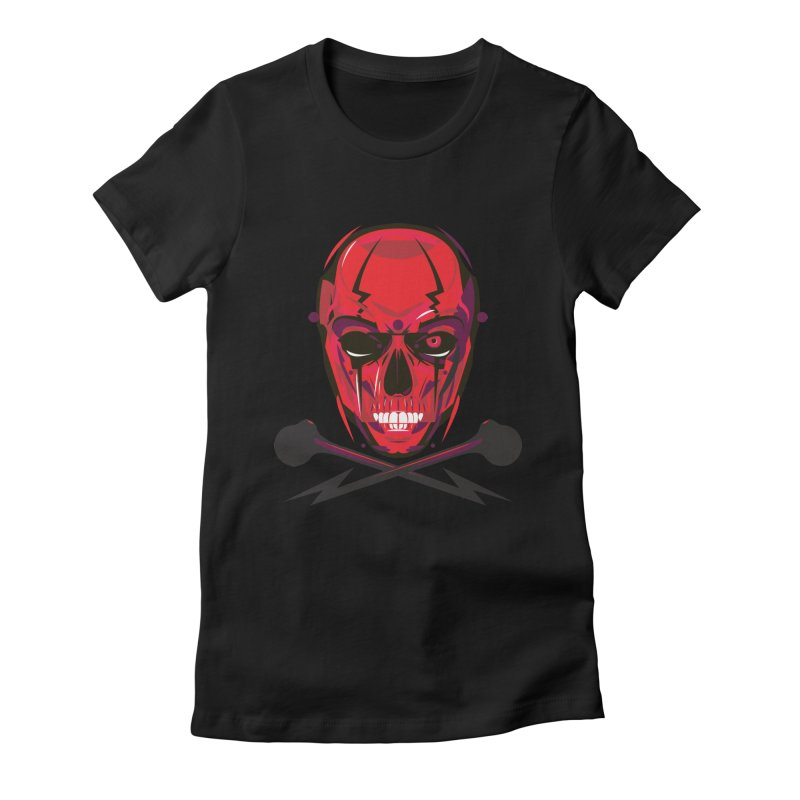 Red Skull and Cross Bones Women's Fitted T-Shirt by euphospug