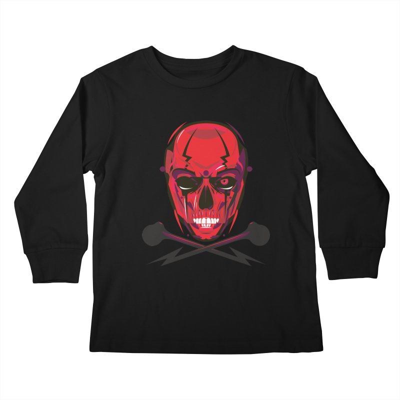 Red Skull and Cross Bones Kids Longsleeve T-Shirt by euphospug