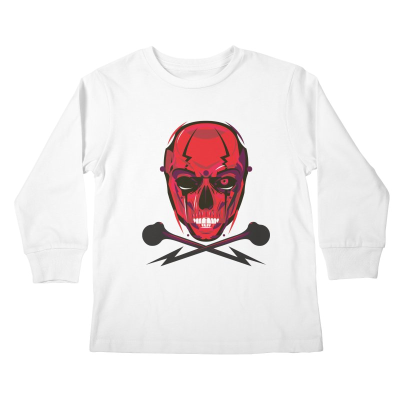 Red Skull and Cross Bones Kids Longsleeve T-Shirt by euphospug