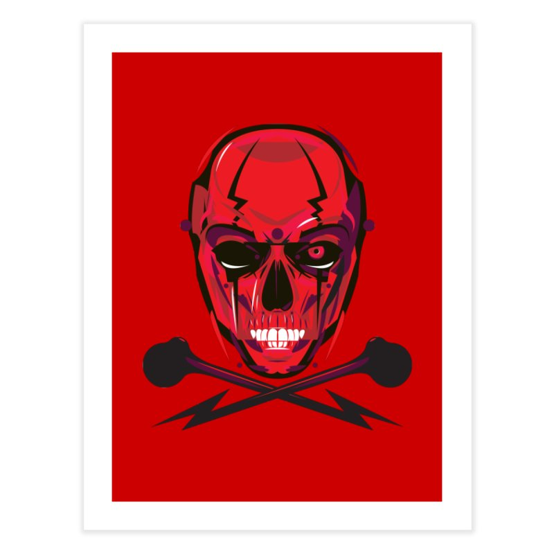 Red Skull and Cross Bones Home Fine Art Print by euphospug