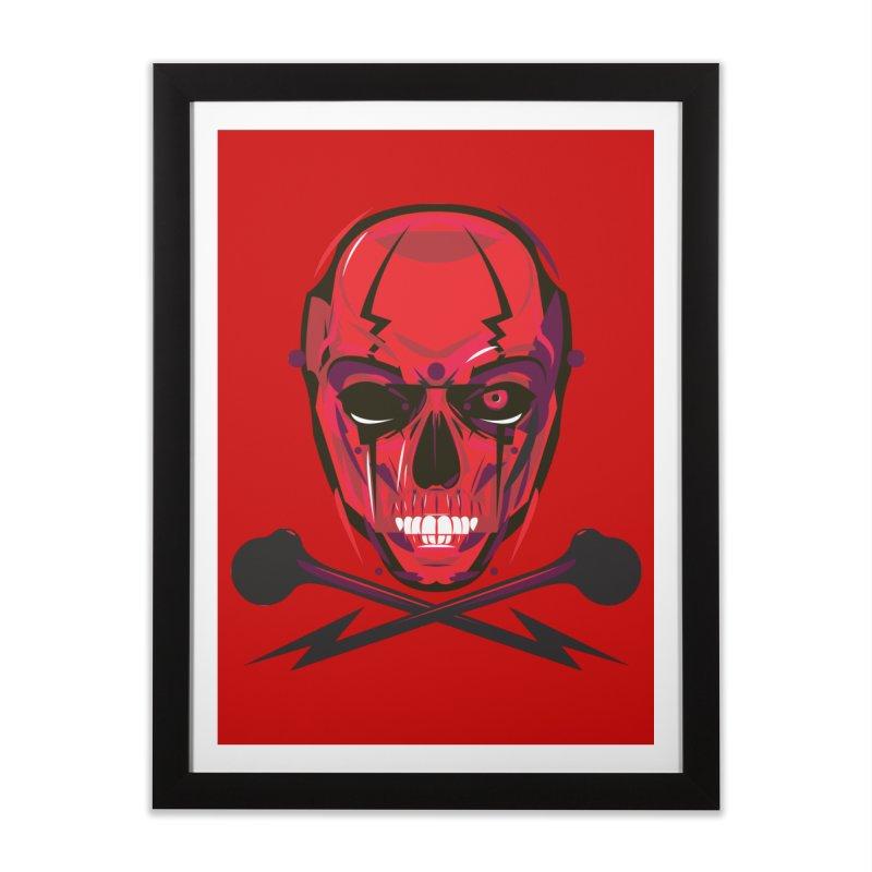 Red Skull and Cross Bones Home Framed Fine Art Print by euphospug