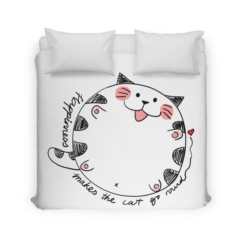 Happiness makes the cat go round Home Duvet by Evacomics Online Shop