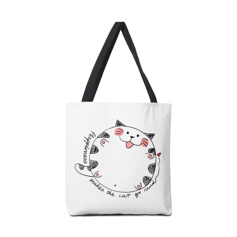 Happiness makes the cat go round Accessories Bag by Evacomics Online Shop