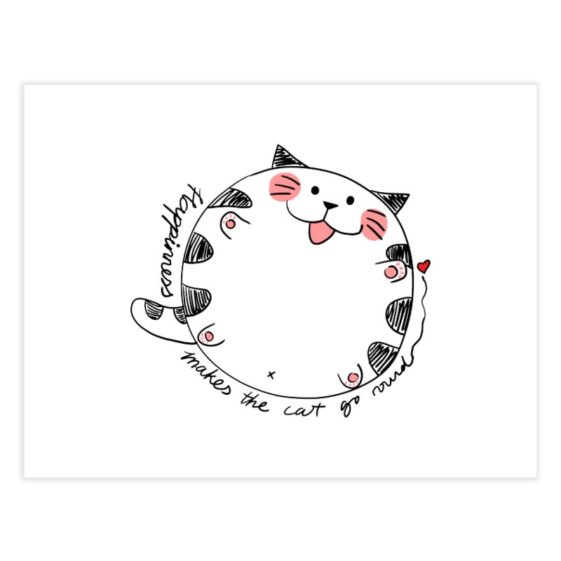 Happiness makes the cat go round Home Fine Art Print by Evacomics Online Shop
