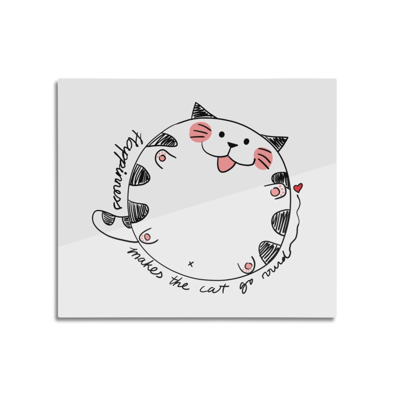 Happiness makes the cat go round Home Mounted Aluminum Print by Evacomics Online Shop