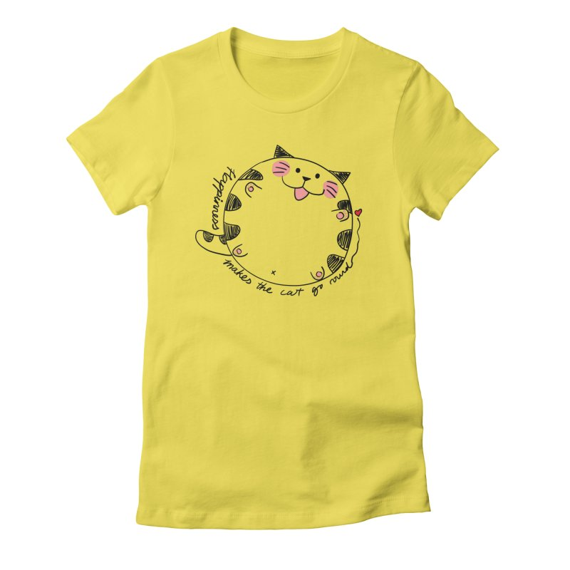 Happiness makes the cat go round Women's T-Shirt by Evacomics Online Shop