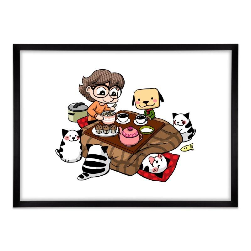 Kotatsu family Home Framed Fine Art Print by Evacomics Online Shop