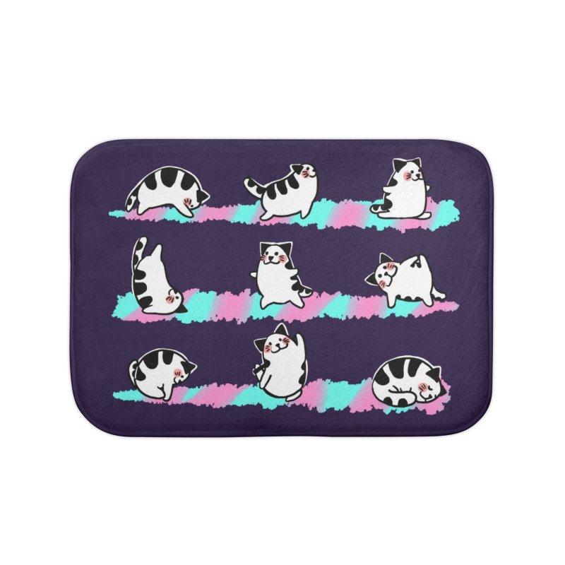 Cat yoga Home Bath Mat by Evacomics Online Shop