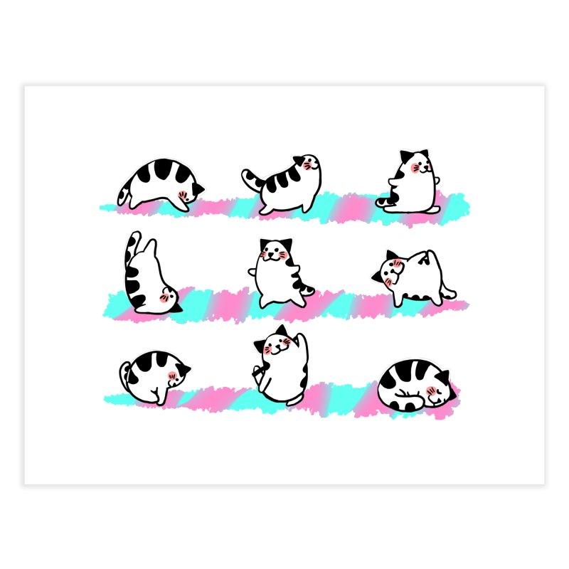Cat yoga Home Fine Art Print by Evacomics Online Shop