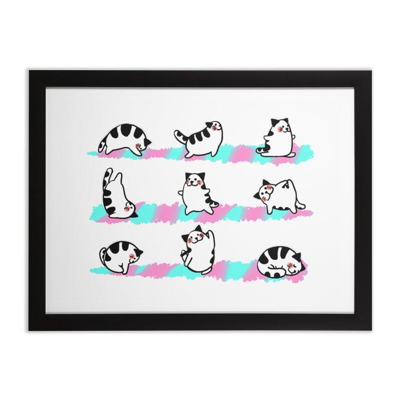 Cat yoga Home Framed Fine Art Print by Evacomics Online Shop