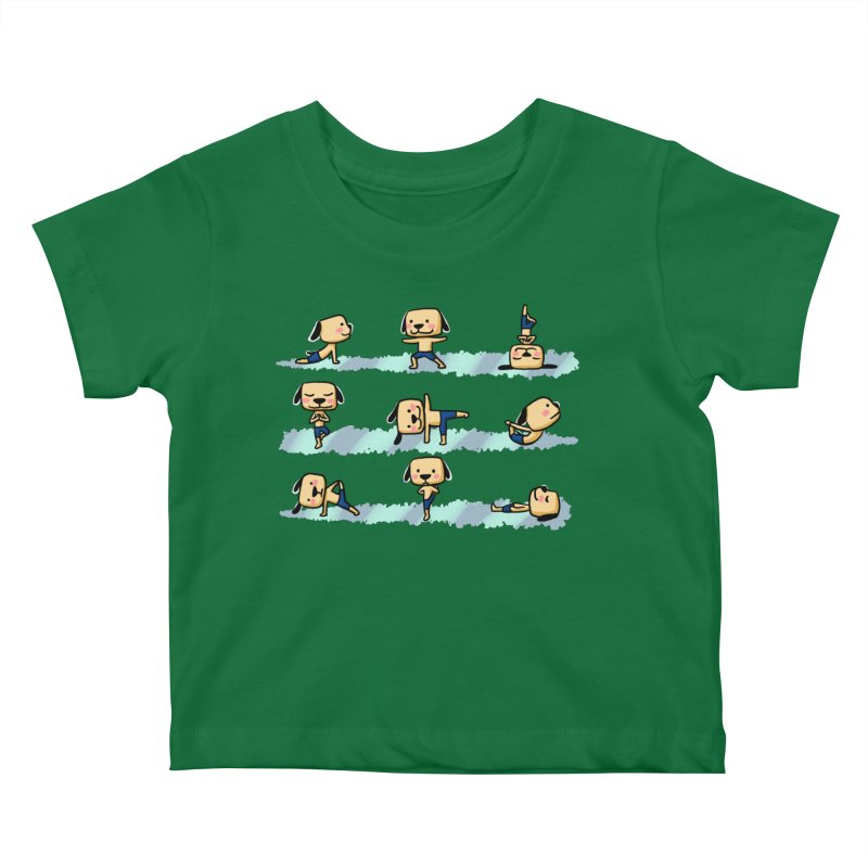 Dog yoga Kids Baby T-Shirt by Evacomics Online Shop