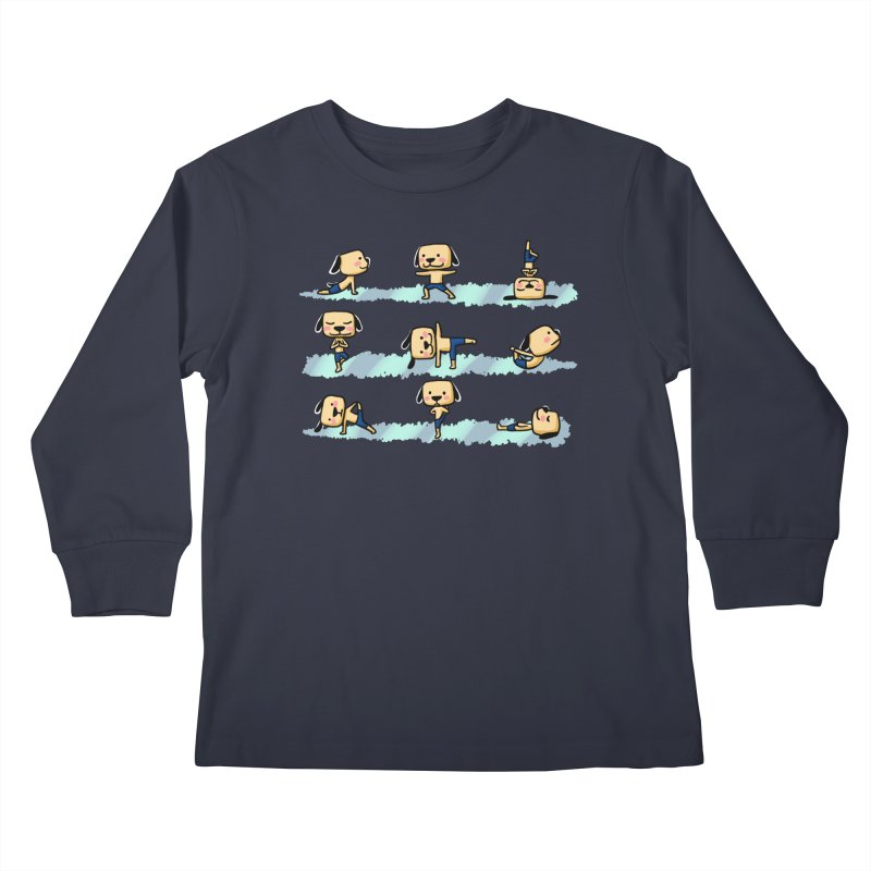 Dog yoga Kids Longsleeve T-Shirt by Evacomics Online Shop