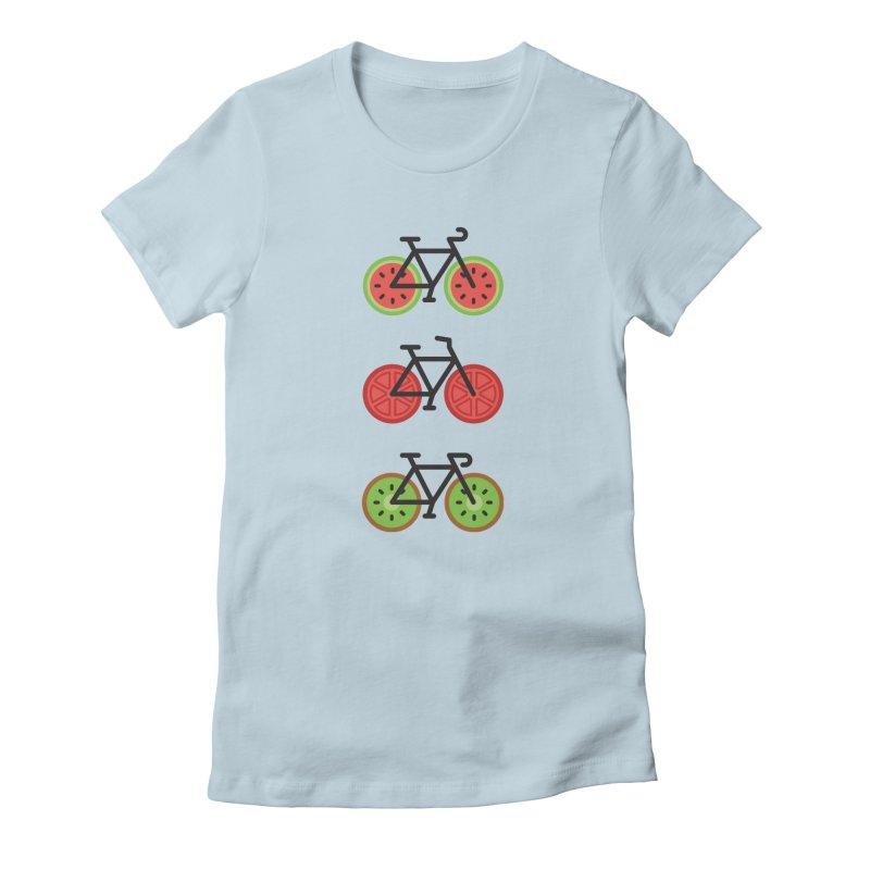 Fresh Wheels (A Healthy Bike Ride) Women's Fitted T-Shirt by evanluza's Artist Shop