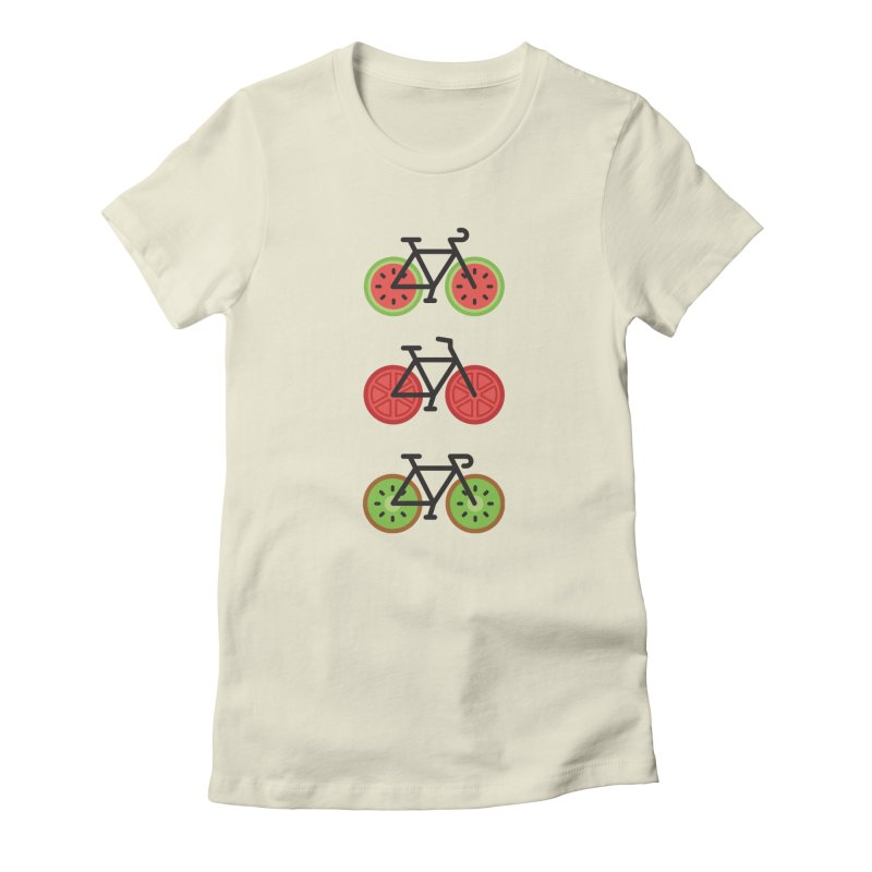 Fresh Wheels (A Healthy Bike Ride) Women's Fitted T-Shirt by evanluza's Artist Shop