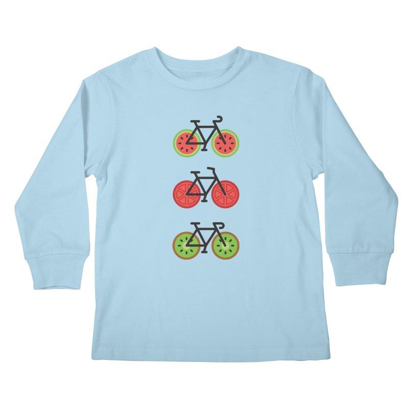 Fresh Wheels (A Healthy Bike Ride) Kids Longsleeve T-Shirt by evanluza's Artist Shop