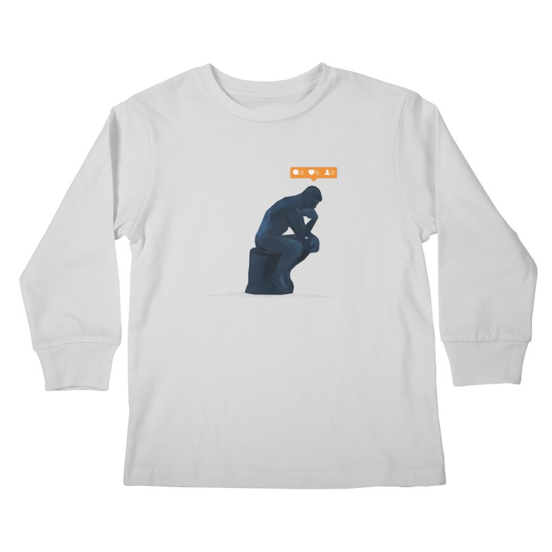 21st Century Thinker (The Lonely Instagram User) Kids Longsleeve T-Shirt by evanluza's Artist Shop
