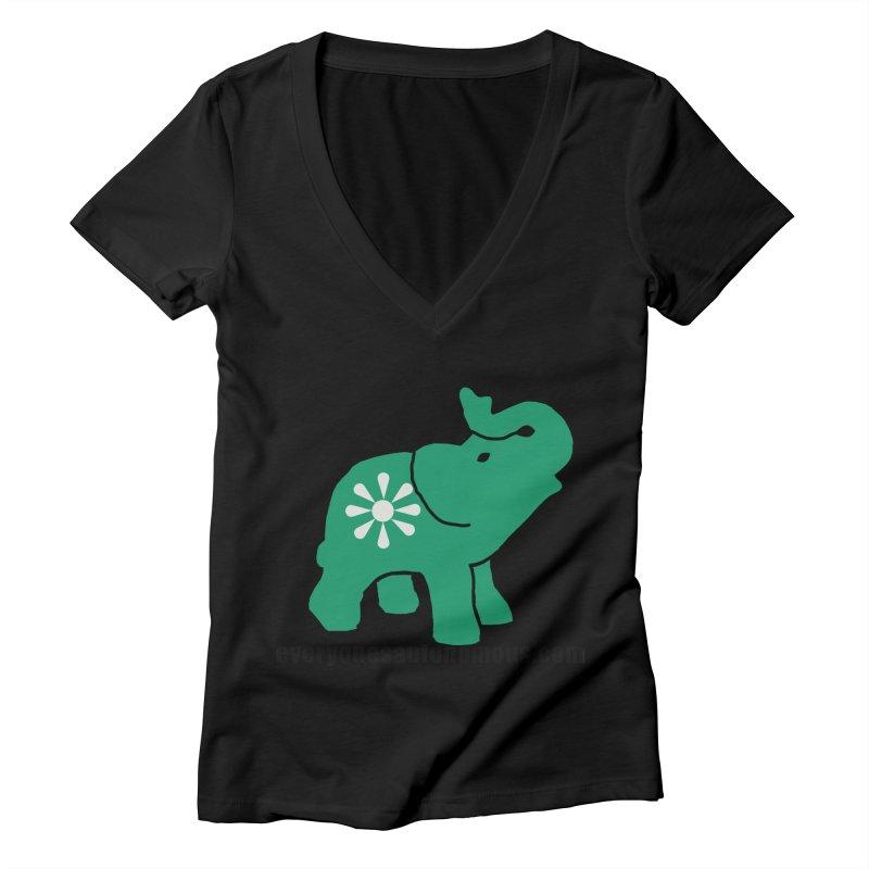 Green Elephant w/Website Women's Deep V-Neck V-Neck by everyonesautonomous's Artist Shop