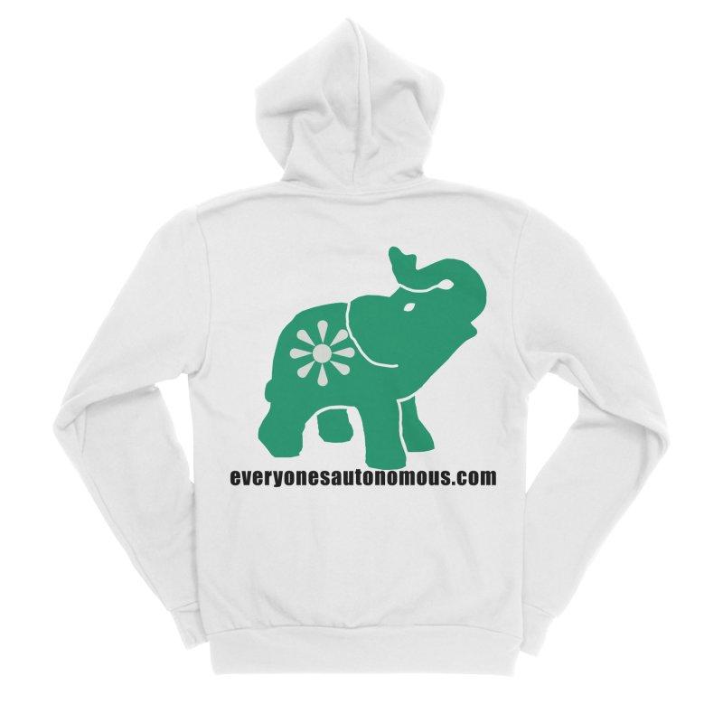 Green Elephant w/Website Women's Sponge Fleece Zip-Up Hoody by everyonesautonomous's Artist Shop