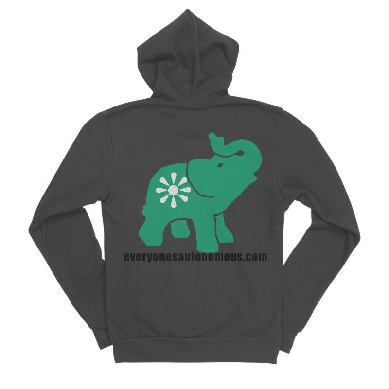 Green Elephant w/Website Men's Sponge Fleece Zip-Up Hoody by everyonesautonomous's Artist Shop