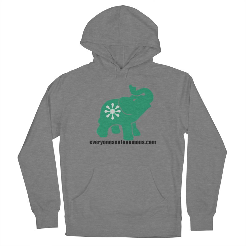 Green Elephant w/Website Women's French Terry Pullover Hoody by everyonesautonomous's Artist Shop