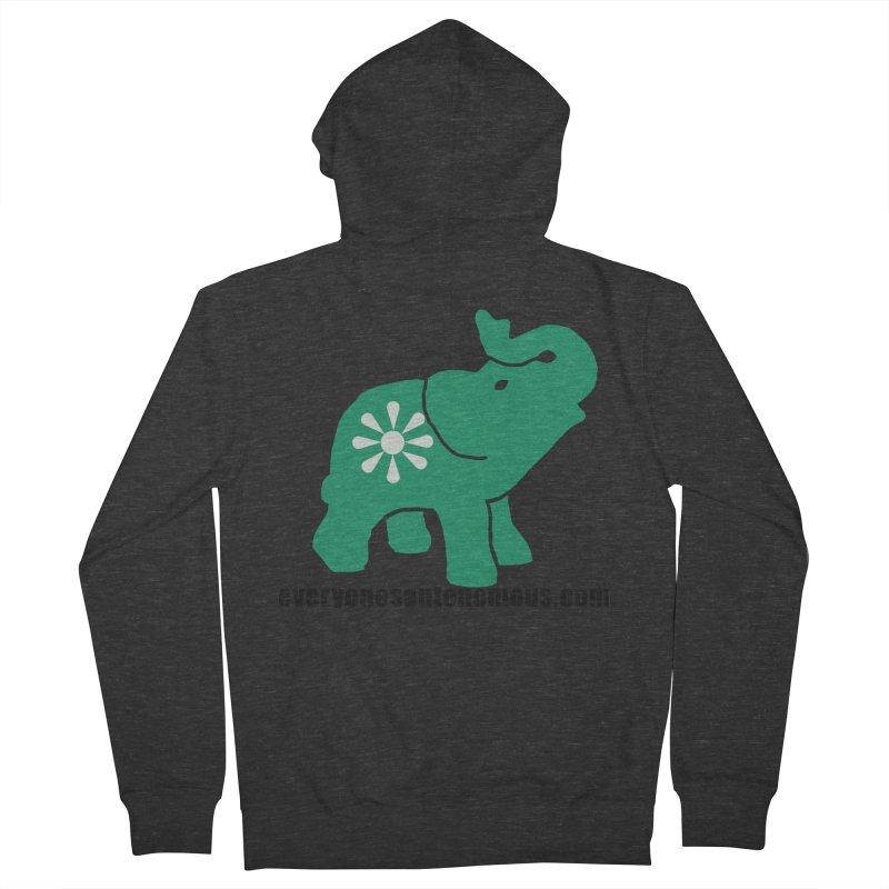 Green Elephant w/Website Men's French Terry Zip-Up Hoody by everyonesautonomous's Artist Shop