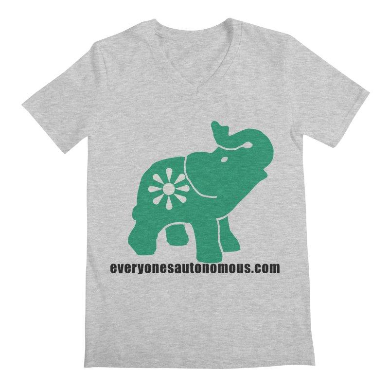 Green Elephant w/Website Men's Regular V-Neck by everyonesautonomous's Artist Shop
