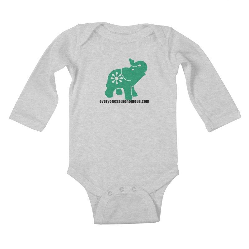 Green Elephant w/Website Kids Baby Longsleeve Bodysuit by Everyone's Autonomous' Artist Shop