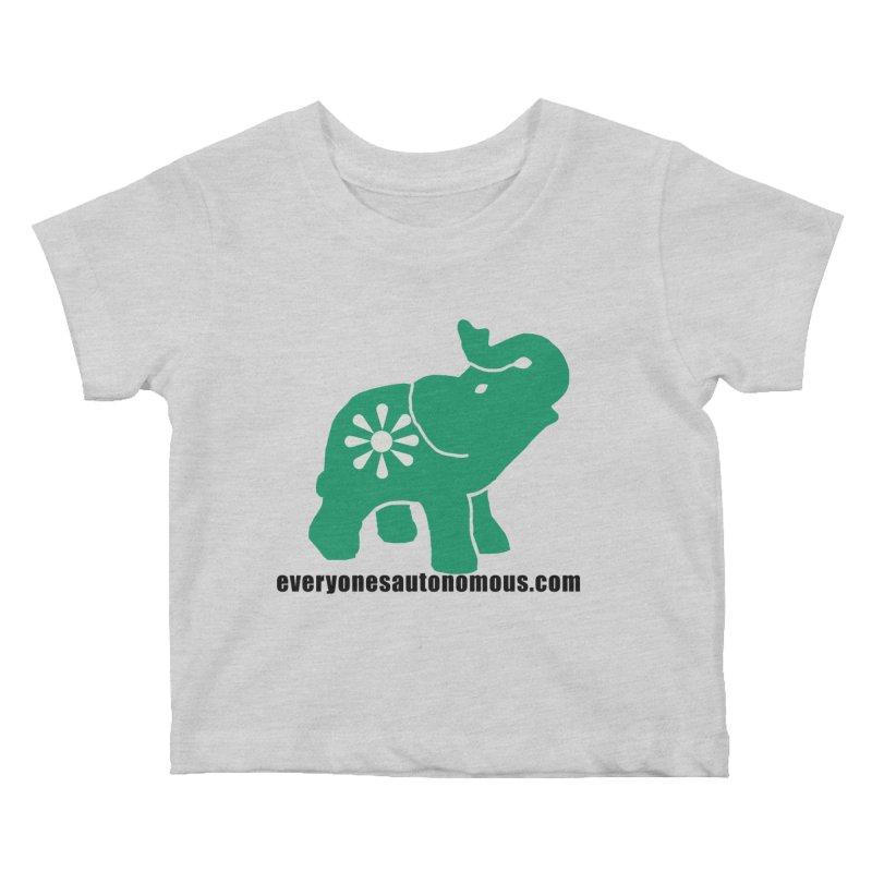 Green Elephant w/Website Kids Baby T-Shirt by everyonesautonomous's Artist Shop