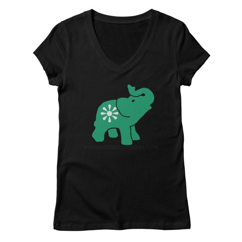 Green Elephant w/Website Women's V-Neck by Everyone's Autonomous' Artist Shop