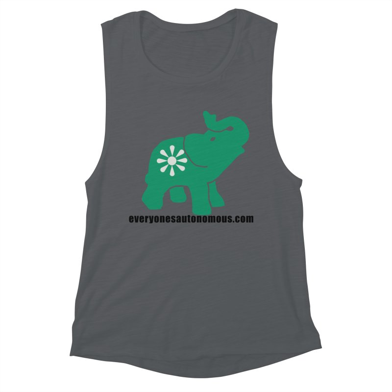 Green Elephant w/Website Women's Muscle Tank by everyonesautonomous's Artist Shop