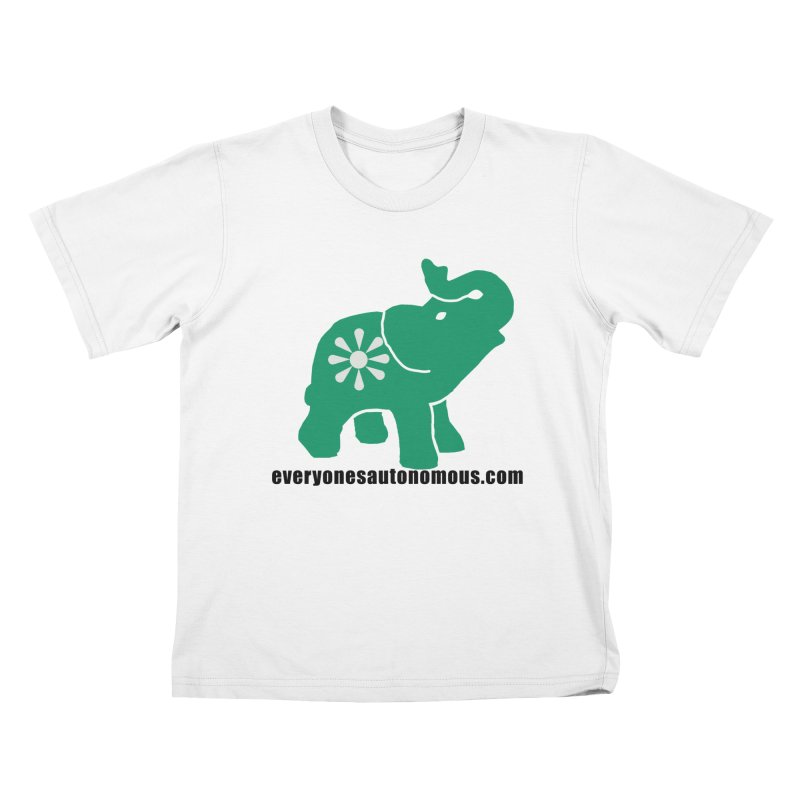 Green Elephant w/Website Kids T-Shirt by everyonesautonomous's Artist Shop