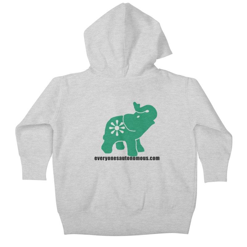Green Elephant w/Website Kids Baby Zip-Up Hoody by everyonesautonomous's Artist Shop