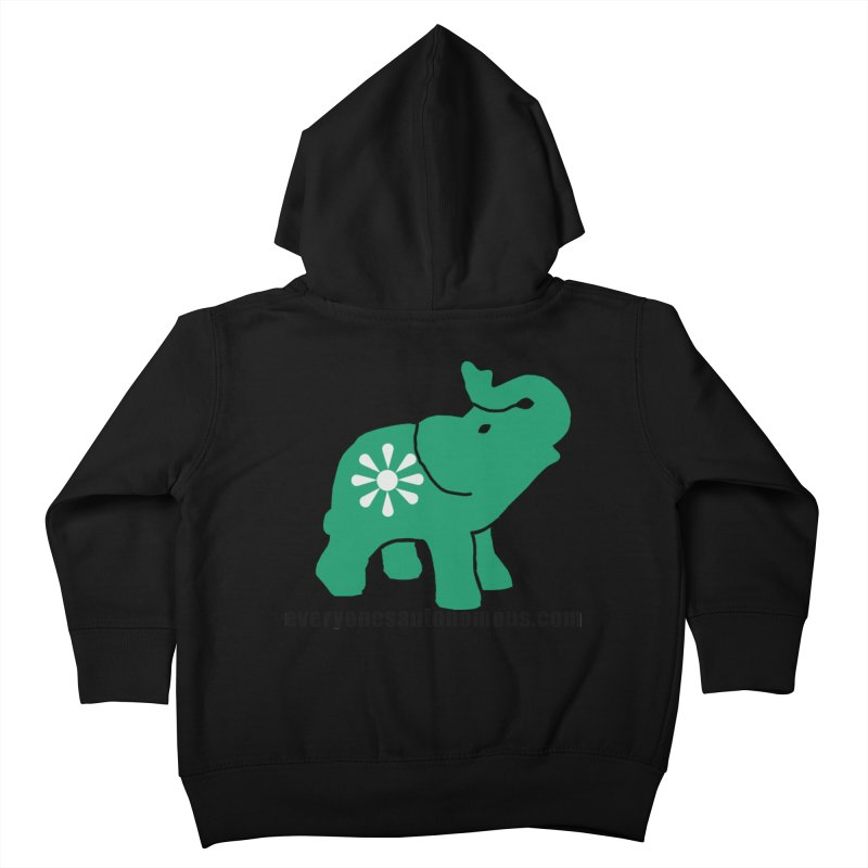 Green Elephant w/Website Kids Toddler Zip-Up Hoody by everyonesautonomous's Artist Shop