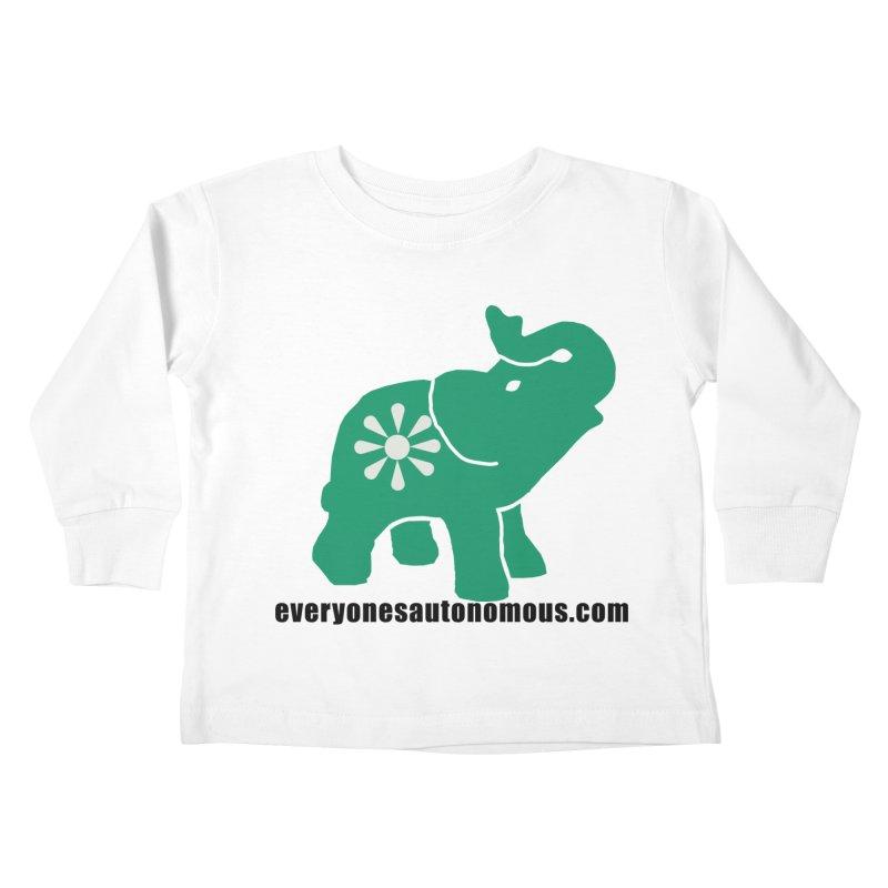 Green Elephant w/Website Kids Toddler Longsleeve T-Shirt by everyonesautonomous's Artist Shop