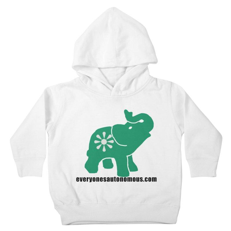 Green Elephant w/Website Kids Toddler Pullover Hoody by everyonesautonomous's Artist Shop