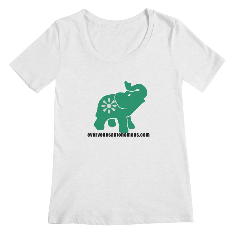Green Elephant w/Website Women's Regular Scoop Neck by everyonesautonomous's Artist Shop