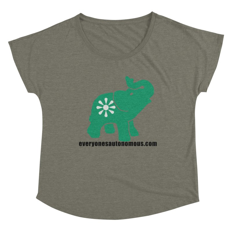 Green Elephant w/Website Women's Dolman Scoop Neck by everyonesautonomous's Artist Shop