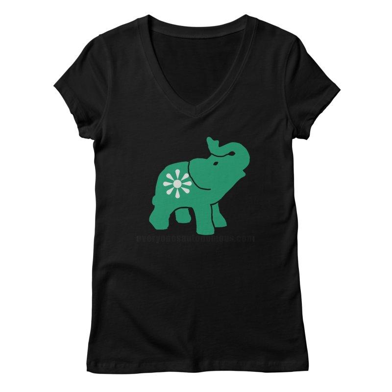 Green Elephant w/Website Women's Regular V-Neck by everyonesautonomous's Artist Shop
