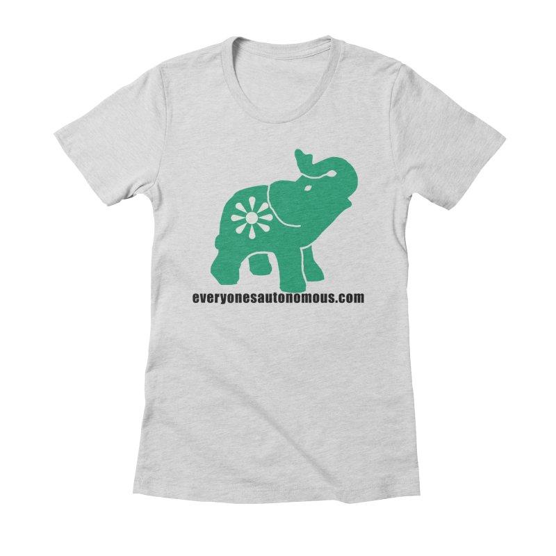 Green Elephant w/Website Women's Fitted T-Shirt by everyonesautonomous's Artist Shop