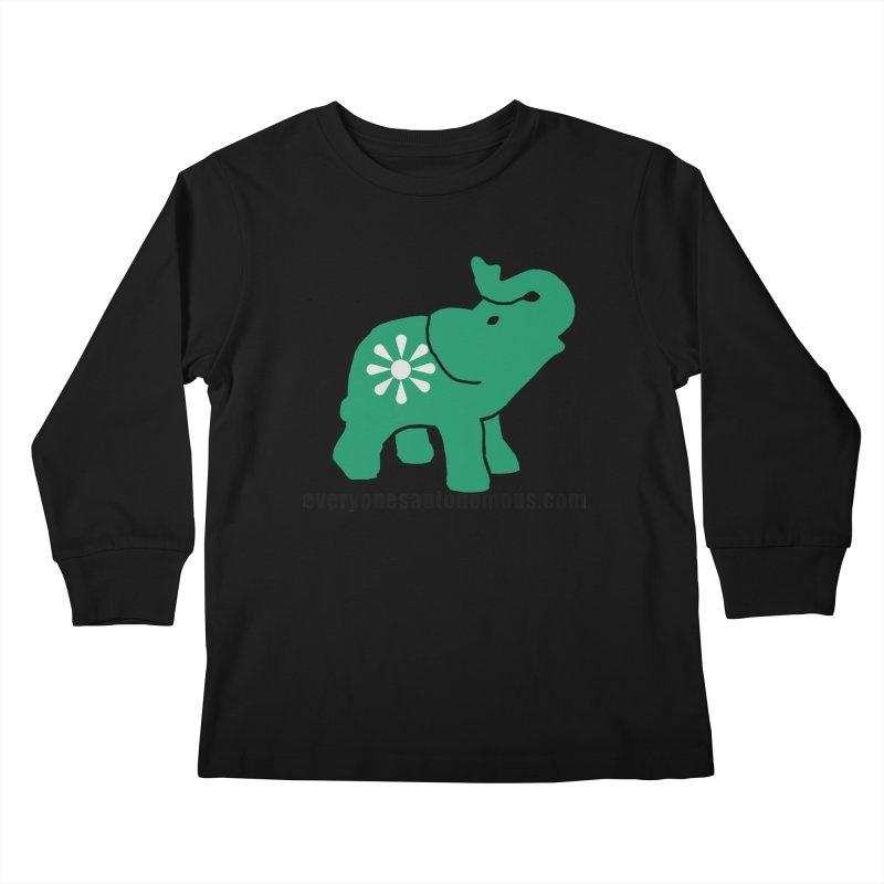 Green Elephant w/Website Kids Longsleeve T-Shirt by everyonesautonomous's Artist Shop