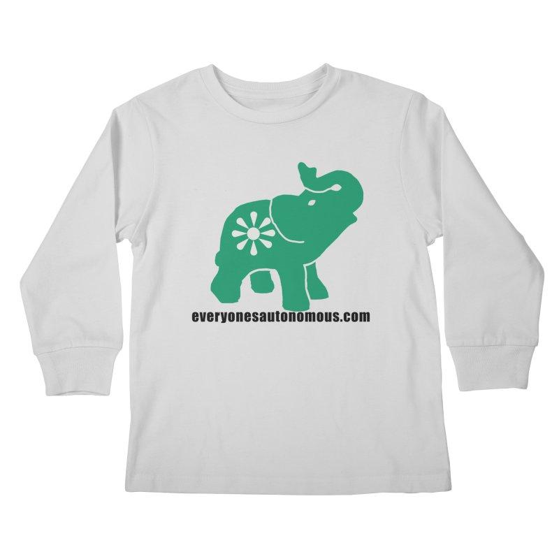 Green Elephant w/Website Kids Longsleeve T-Shirt by Everyone's Autonomous' Artist Shop