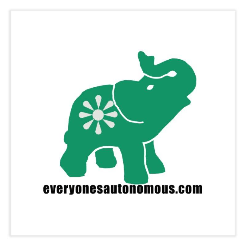 Green Elephant w/Website Home Fine Art Print by everyonesautonomous's Artist Shop